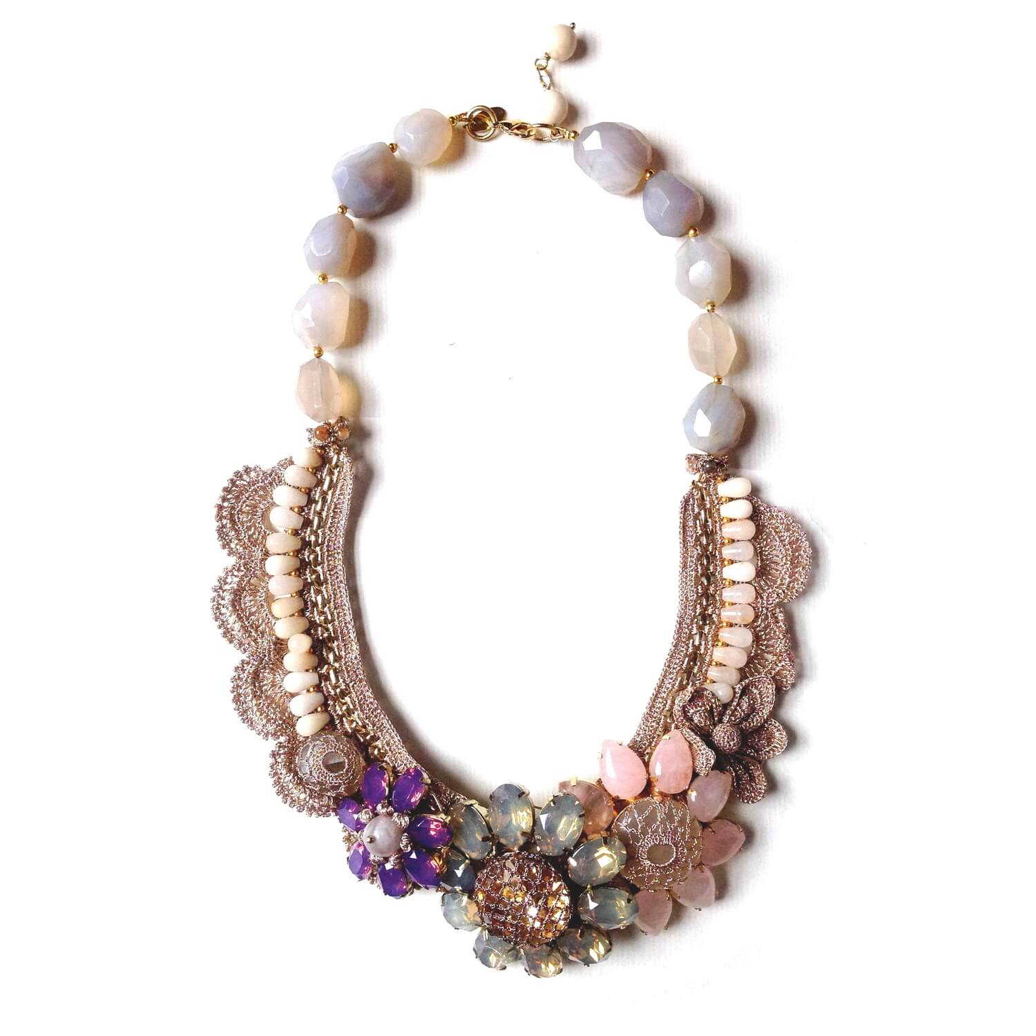 Aphrodite Quartz Forest Flower Crochet Necklace - Blush-Opal