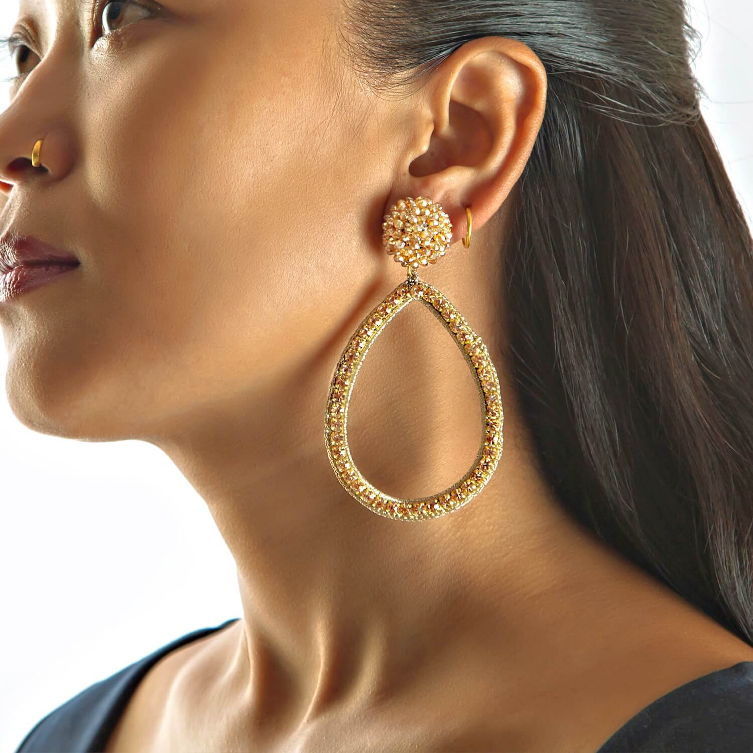 Magdalena Gold Hoop Earring - Model