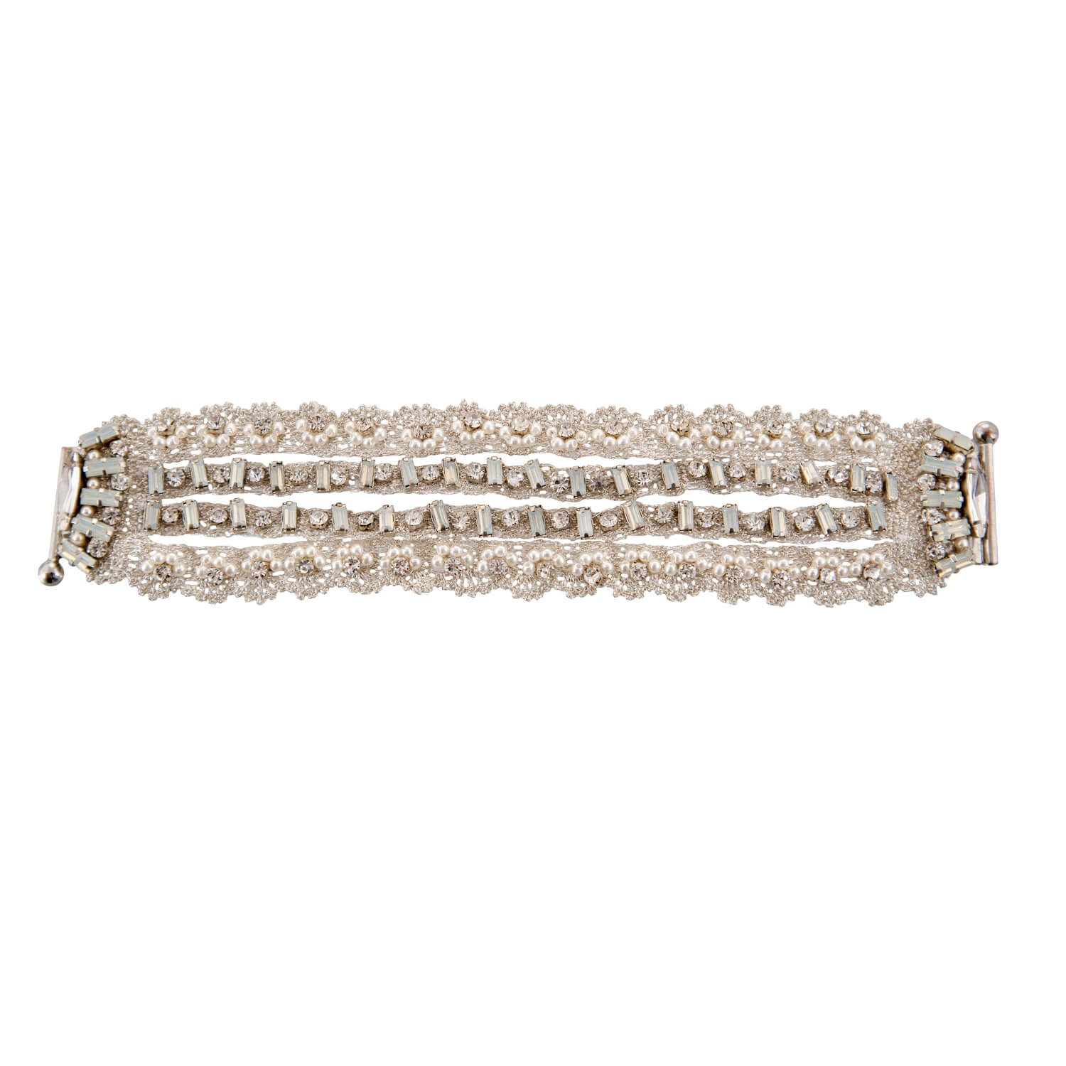 Multi Band Bracelet- Ivory Clear Pearl