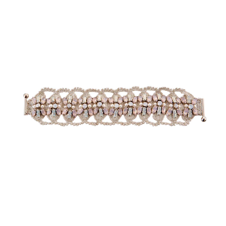 Disco Crochet Floral Strap Bracelet - Blush Opal Pearl