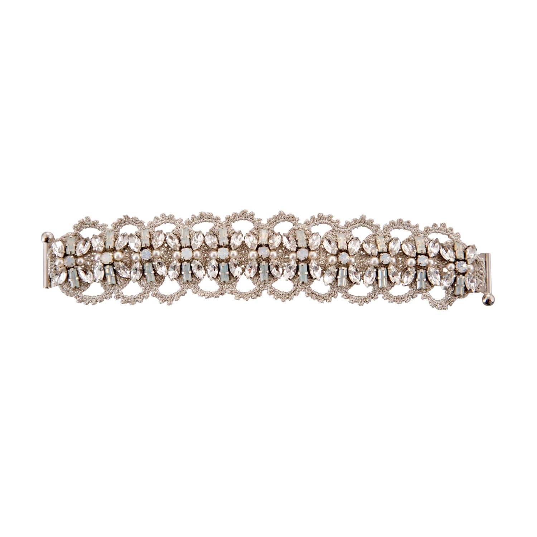 Disco Crochet Floral Strap Bracelet - Clear Opal Pearl