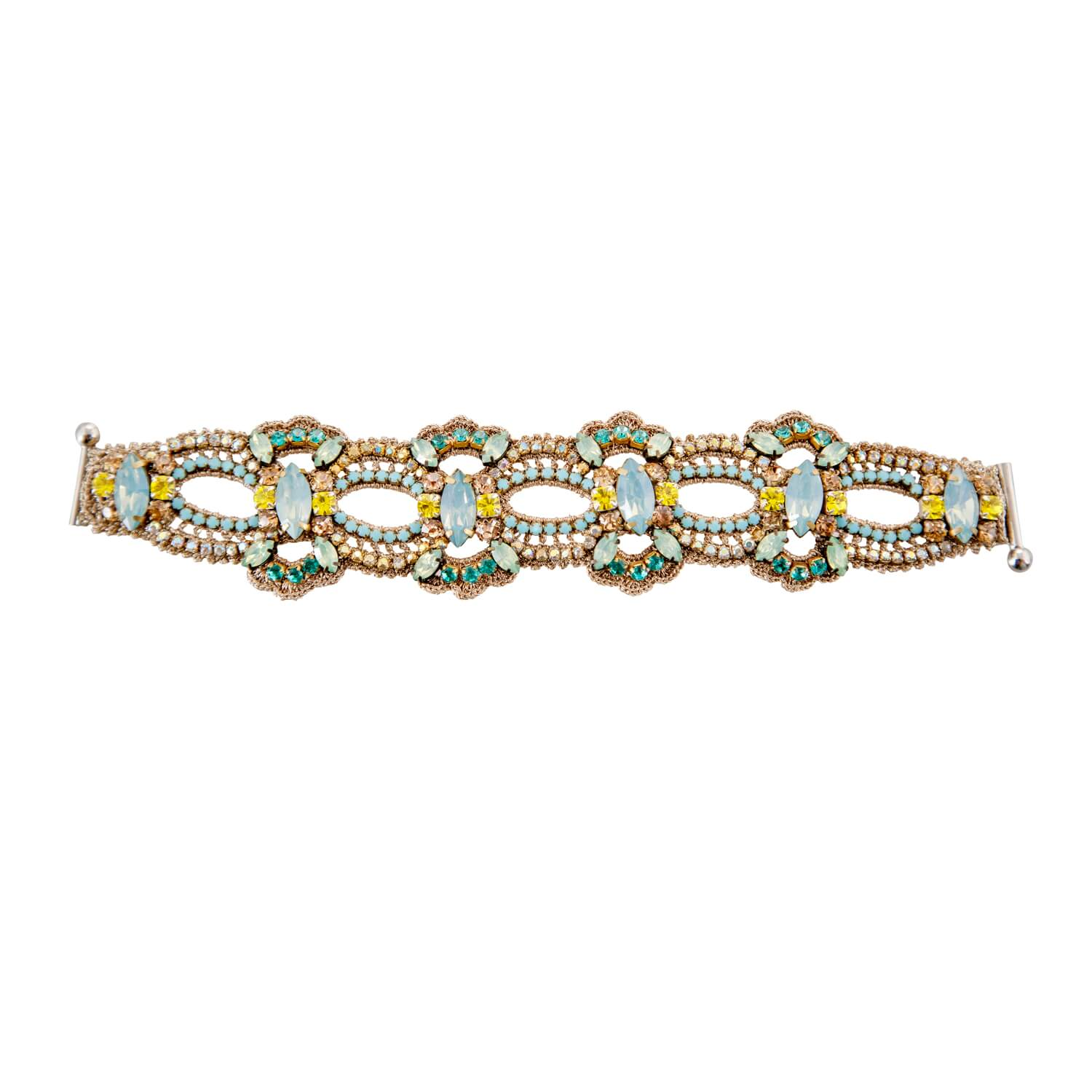 Disco Crochet Scallop Strap Bracelet - Lemon Opal Emerald
