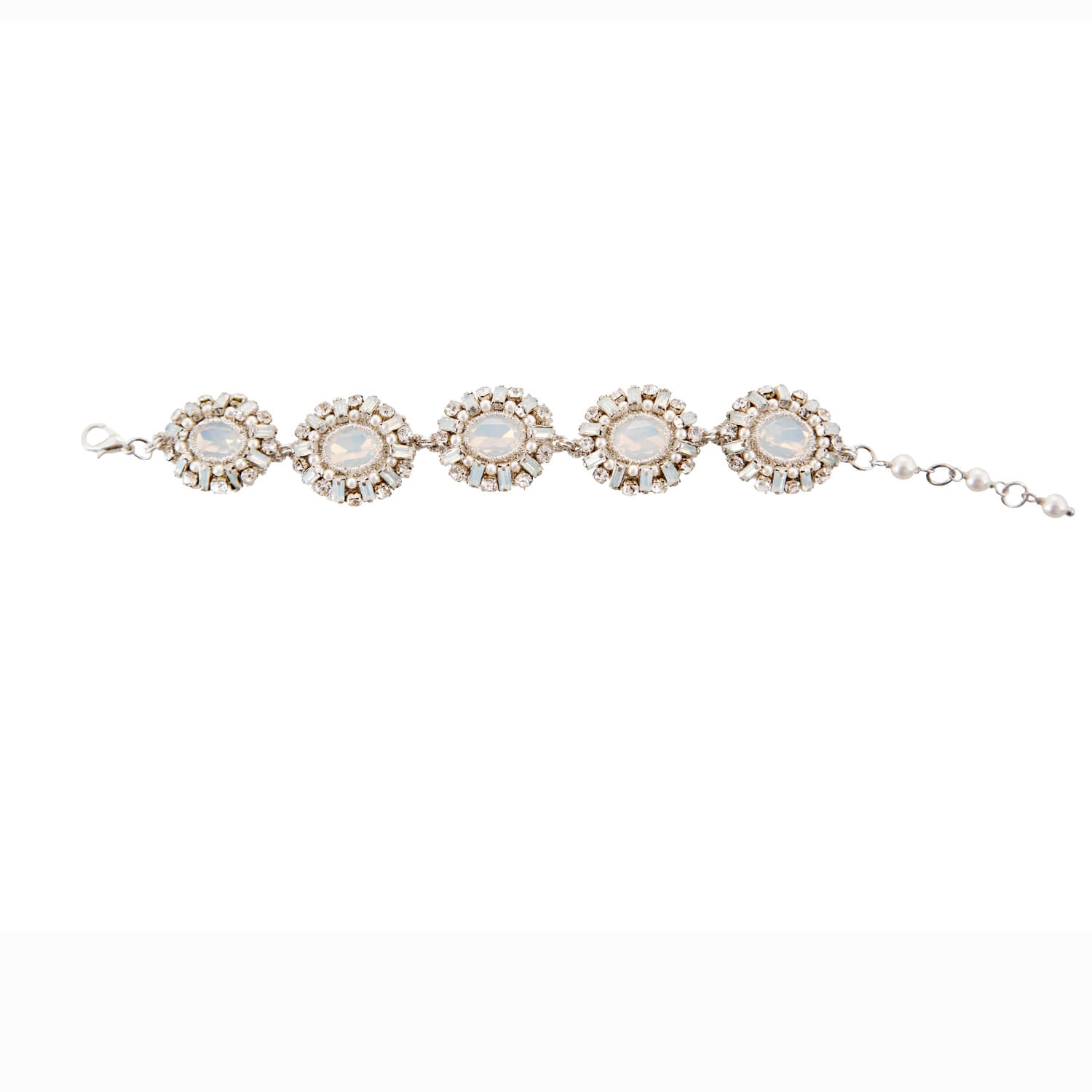 Opal Medalion Soft Bracelet- Ivory Clear Pearl