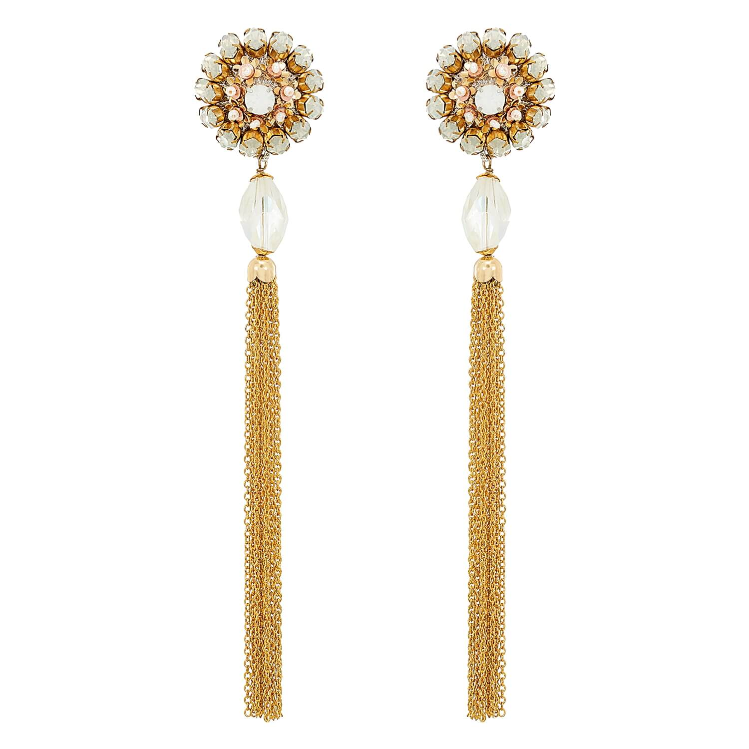Floral Button Earring with Chain Tassle- Opal Gold Pink