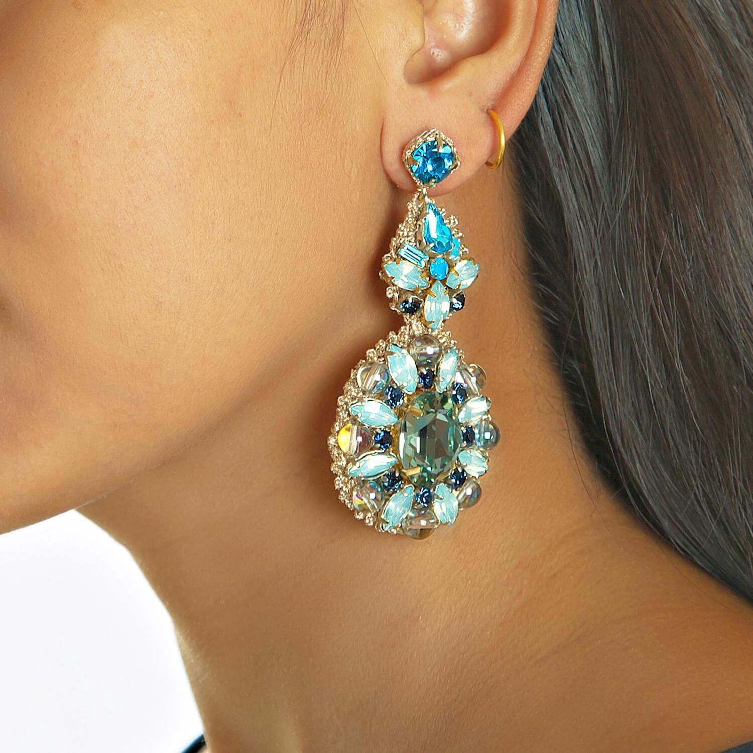 Lynette Aqua Chandelier Earring - Model