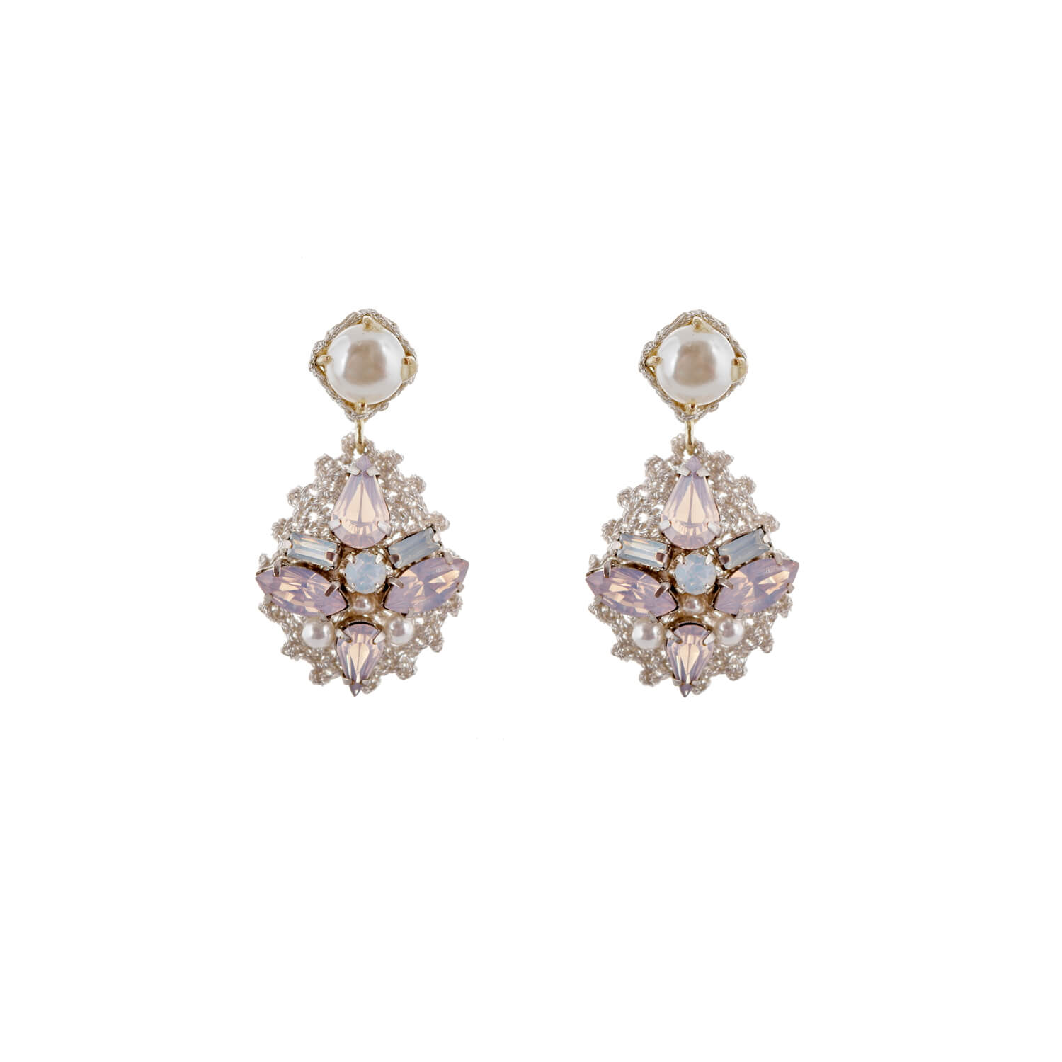 Disco Single Drop Scallop Earrings - Blush Opal Pearl