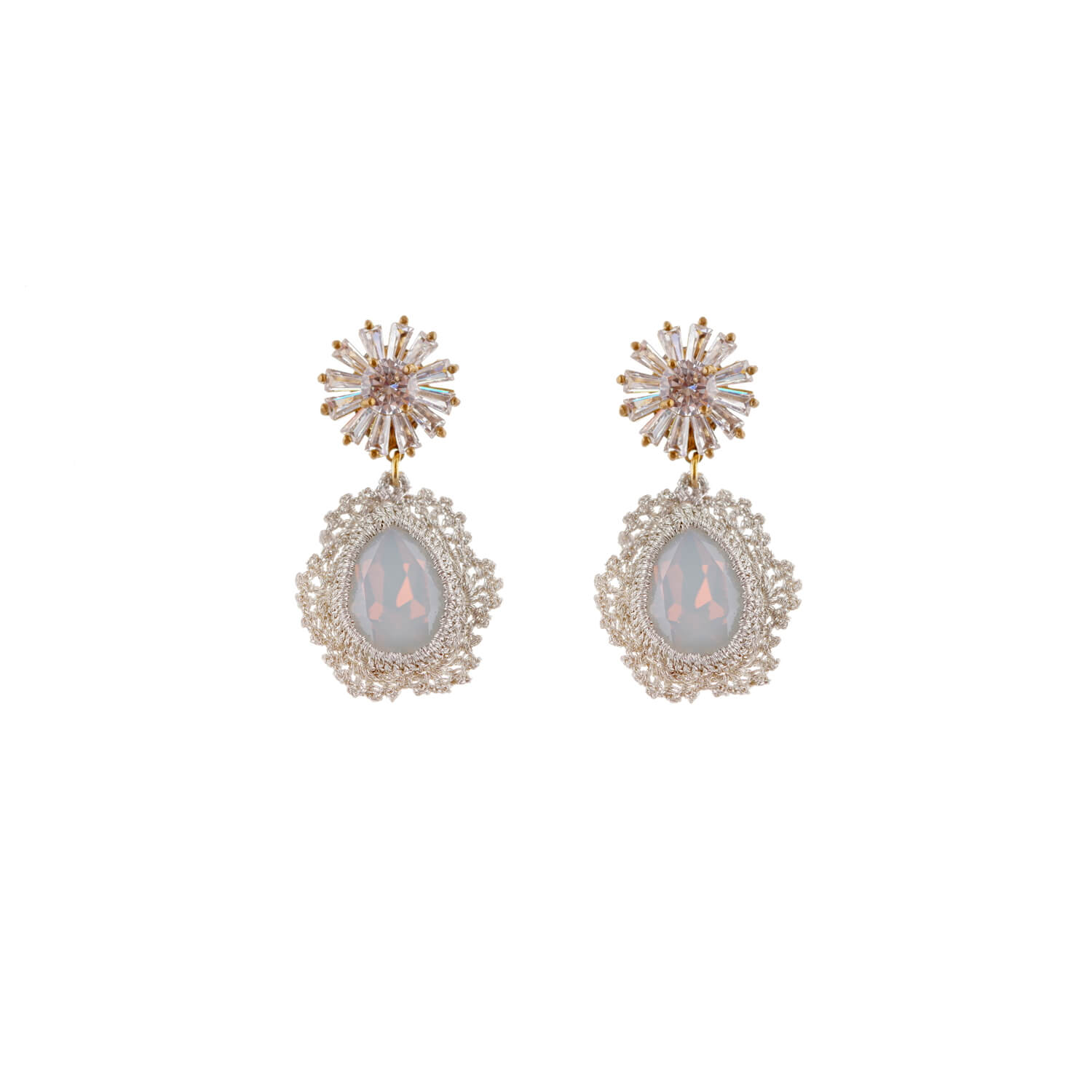 Disco Single Drop Large Crystal Earrings - Opal Starbust Lobe