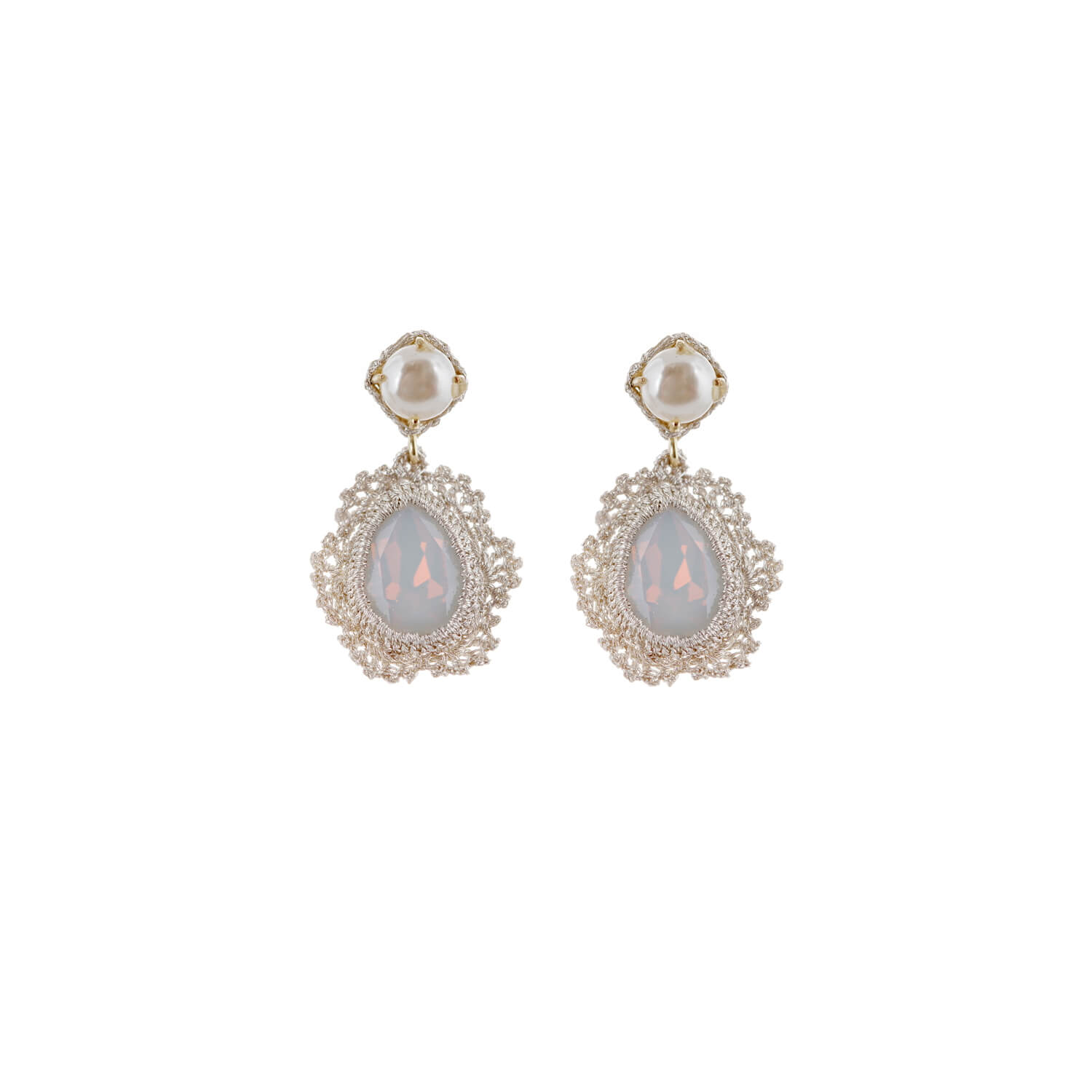 Disco Single Drop Large Crystal Earrings - Opal Pearl Lobe