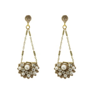 Frangipani Crocheted A Style Pearl Cluster Earrings