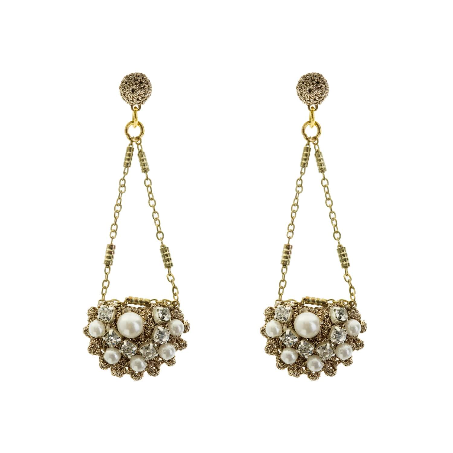 gold cluster facet product usa barcelona white earrings