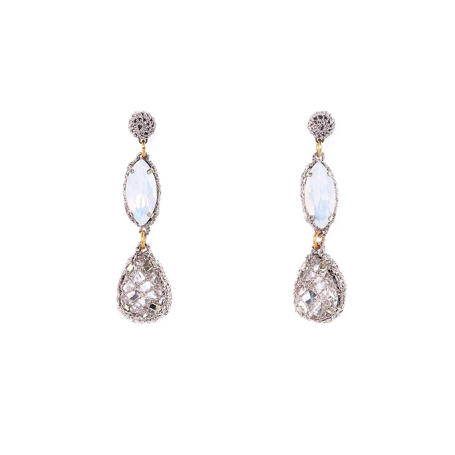 Venus Honey Drop Earrings in Opal-Clear