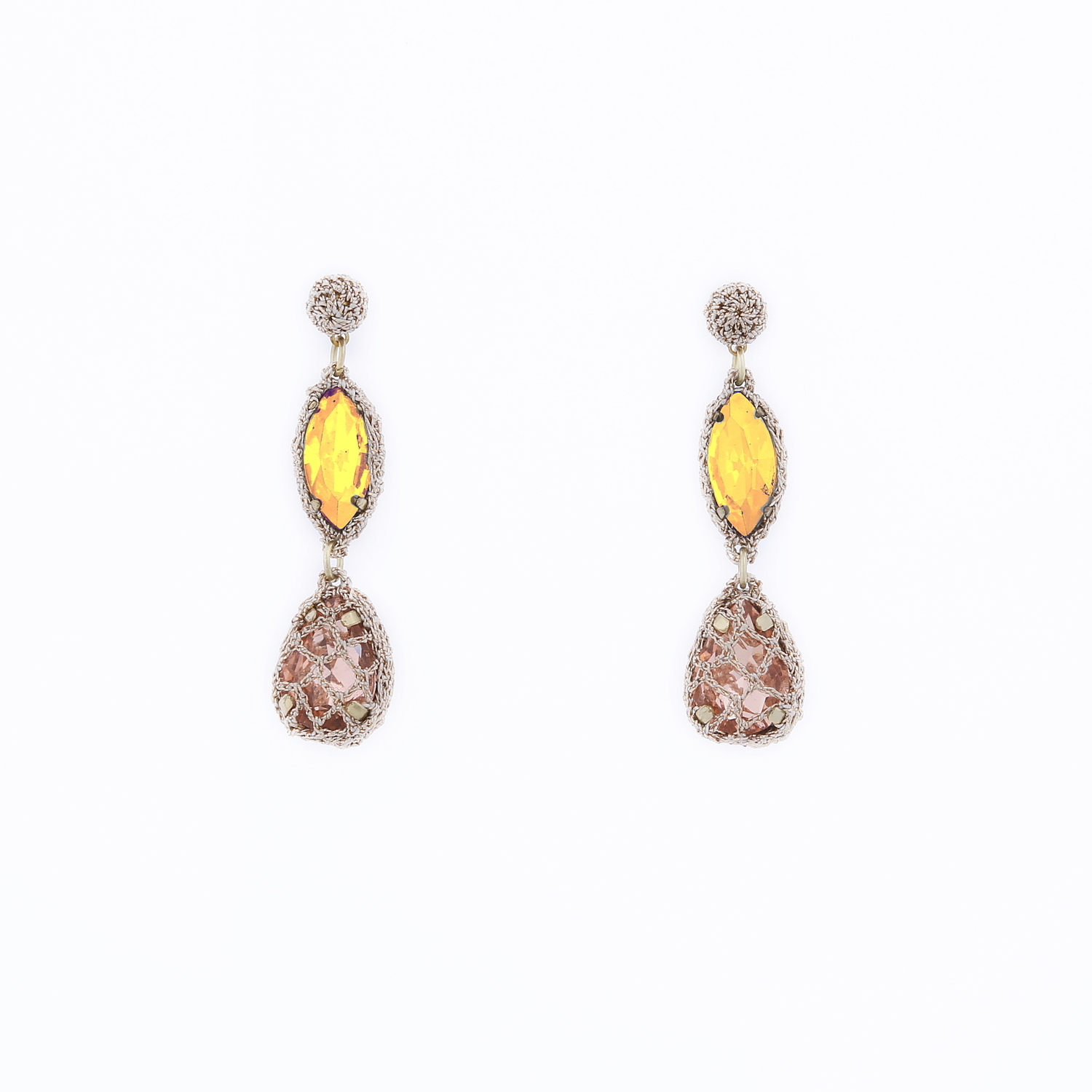 Venus Honey Drop Earrings in Amber-Blush