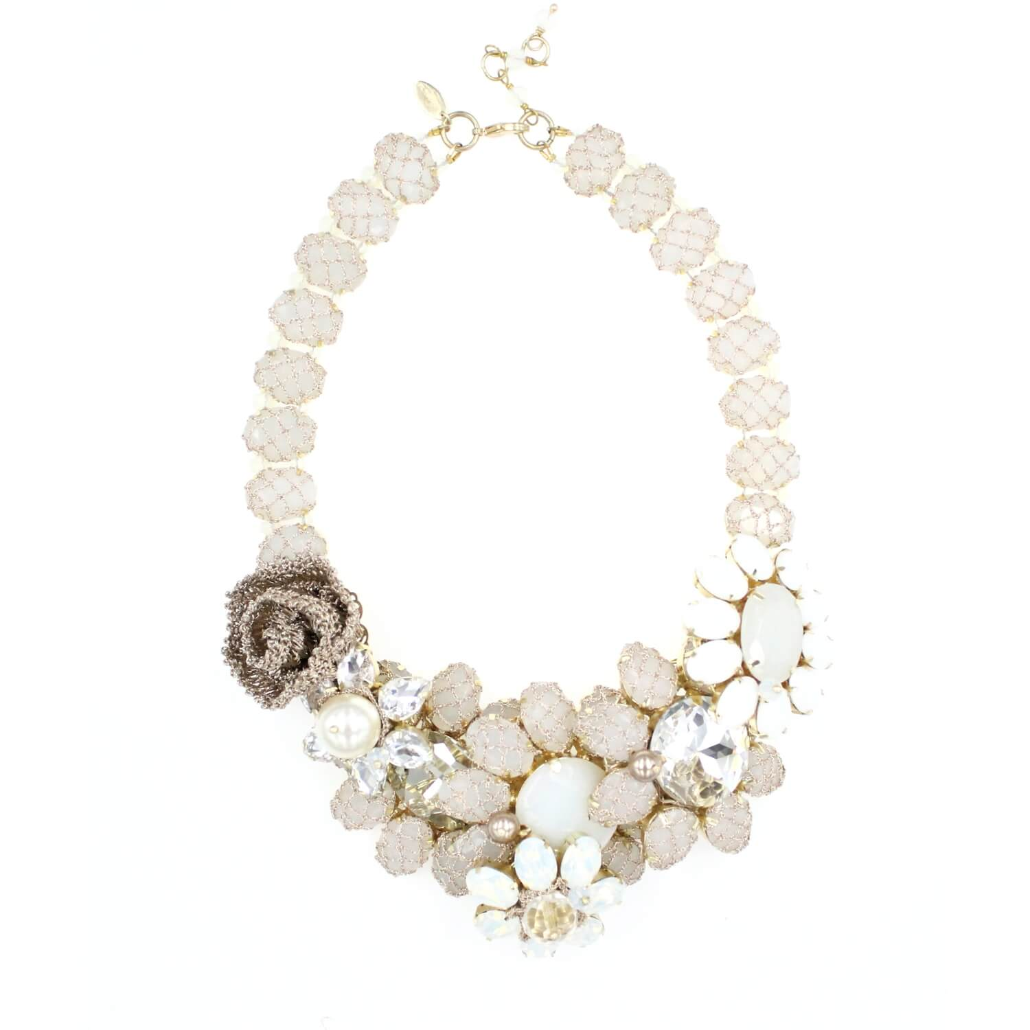 Frangipani Garden Flower Crystal Necklace - Ivory