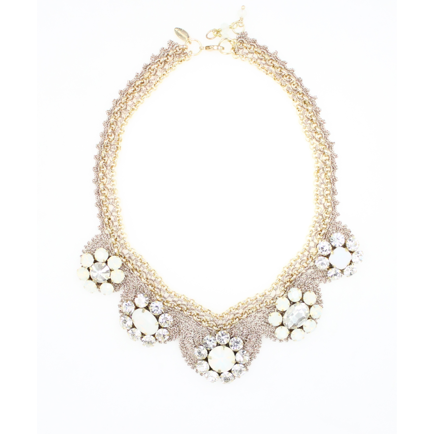 Frangipani Daisy Flower Bib Crochet Necklace - Clear Opal