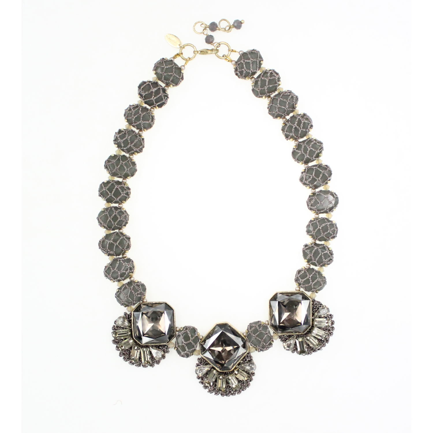 Frangipani Deco Fan Crystal Necklace - Graphite