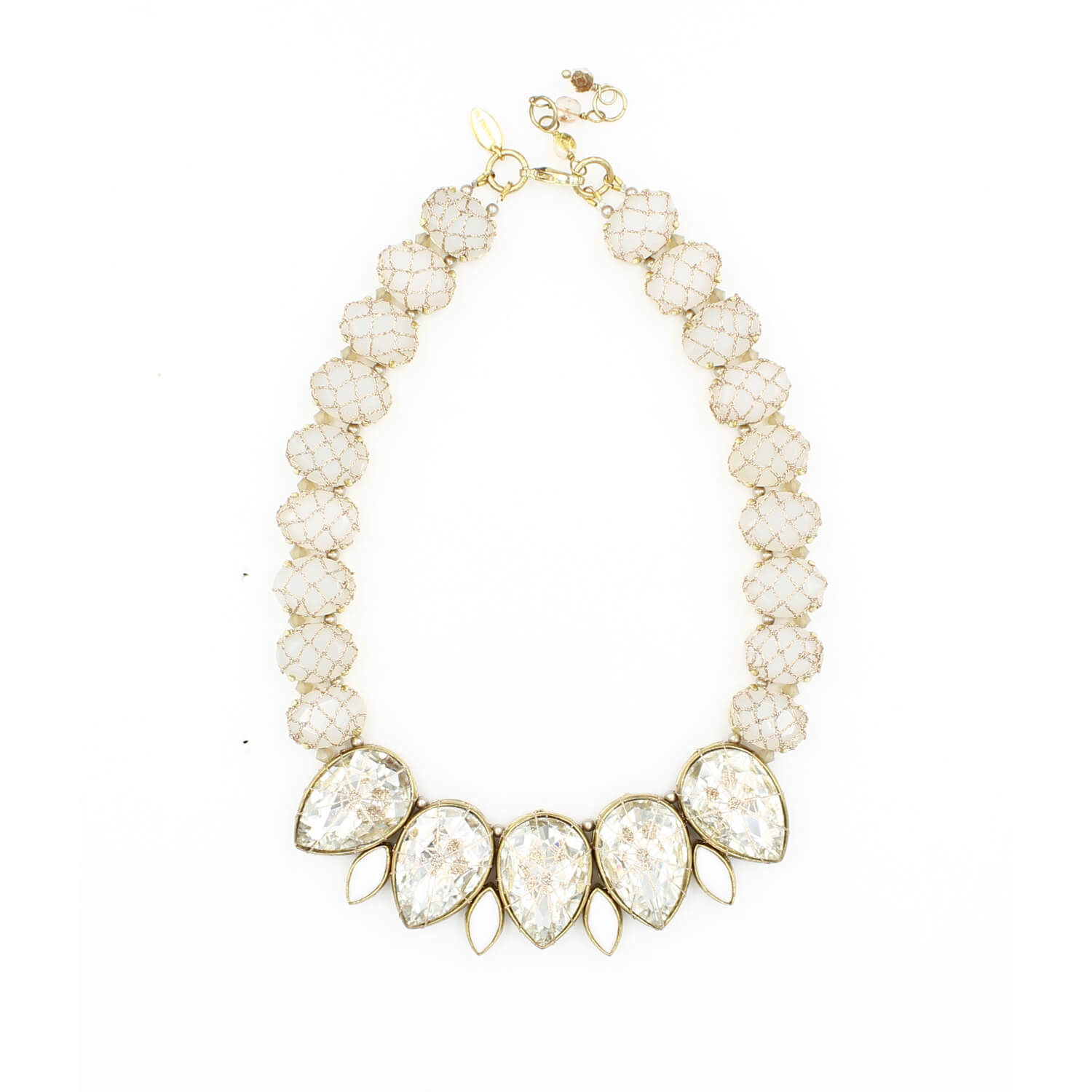 Frangipani Tears of Petals Crystal Necklace - Clear Opal