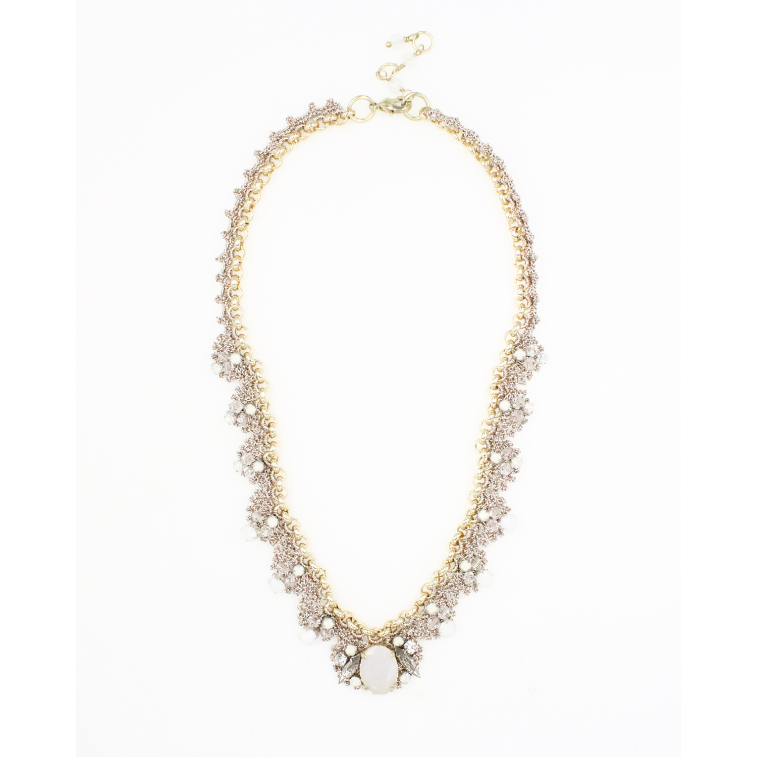 Frangipani Bejewelled Crochet Petal Necklace - Opal Clear