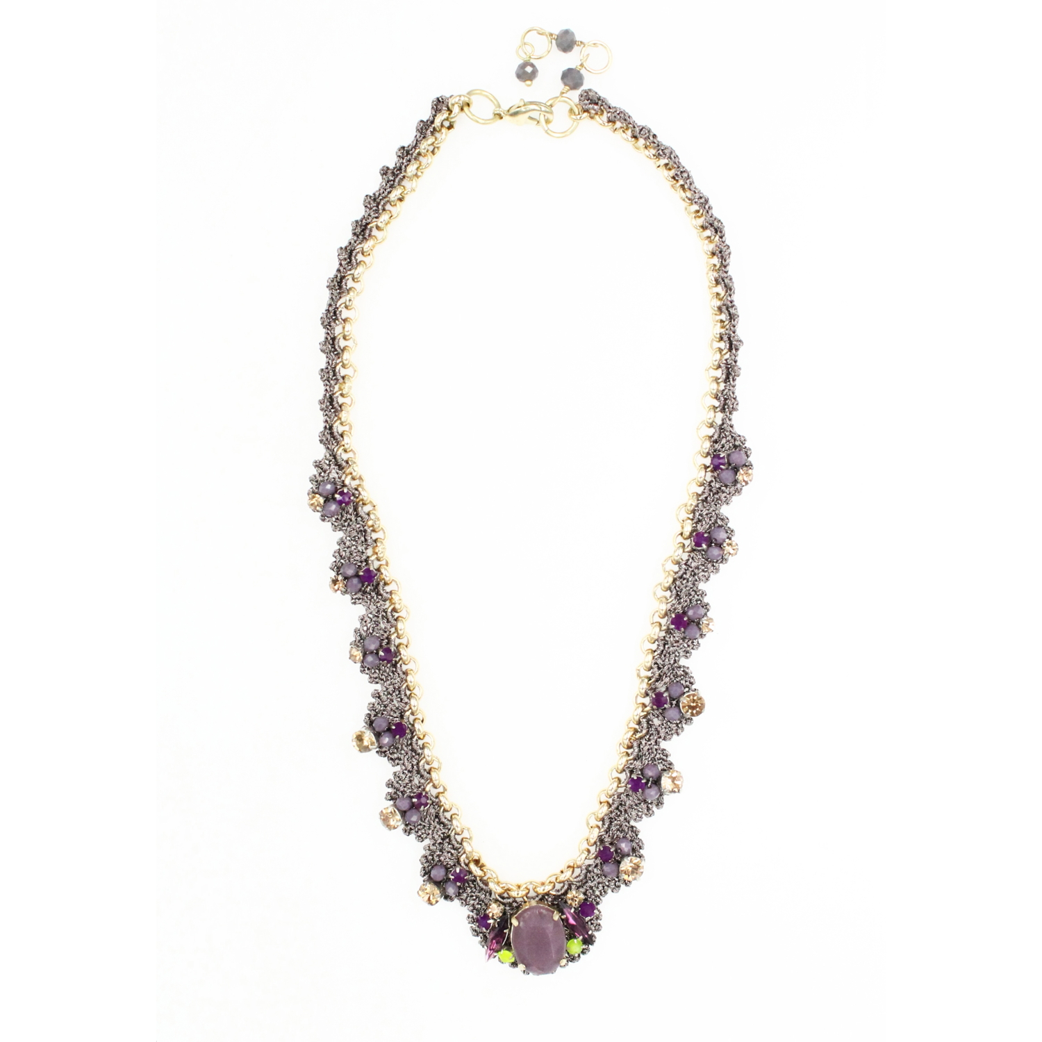 Frangipani Bejewelled Crochet Petal Necklace - Purple Grey