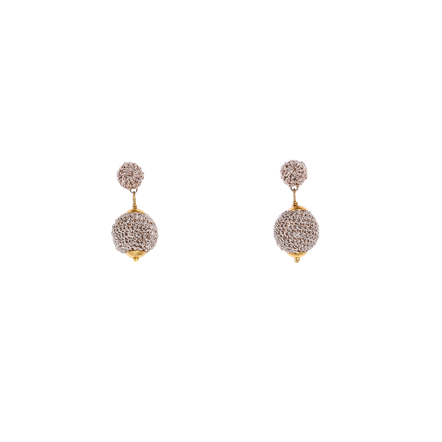 Nomad Stud Crochet Short Drop Earring - Peach Colour