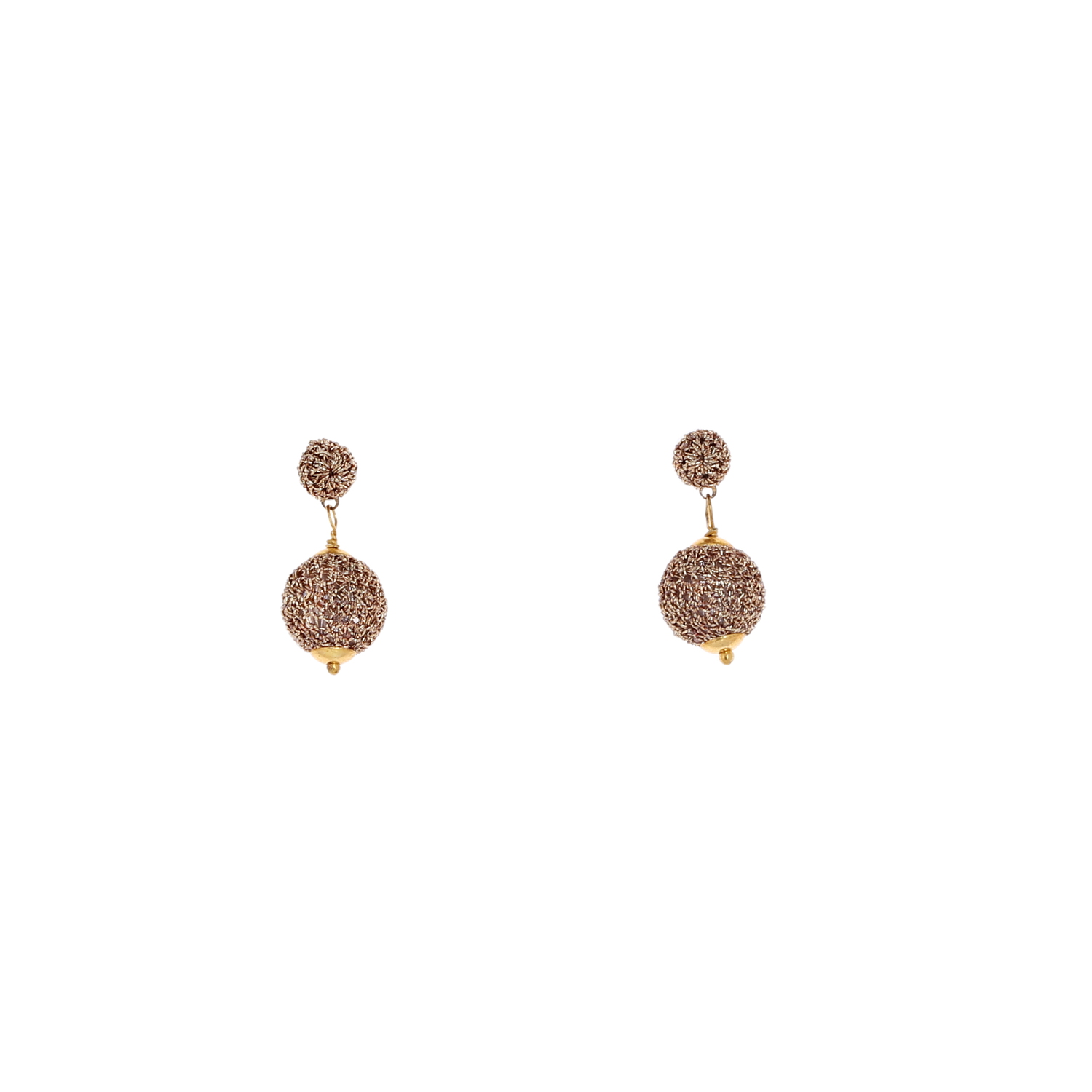 Nomad Stud Crochet Short Drop Earring - Gold Colour
