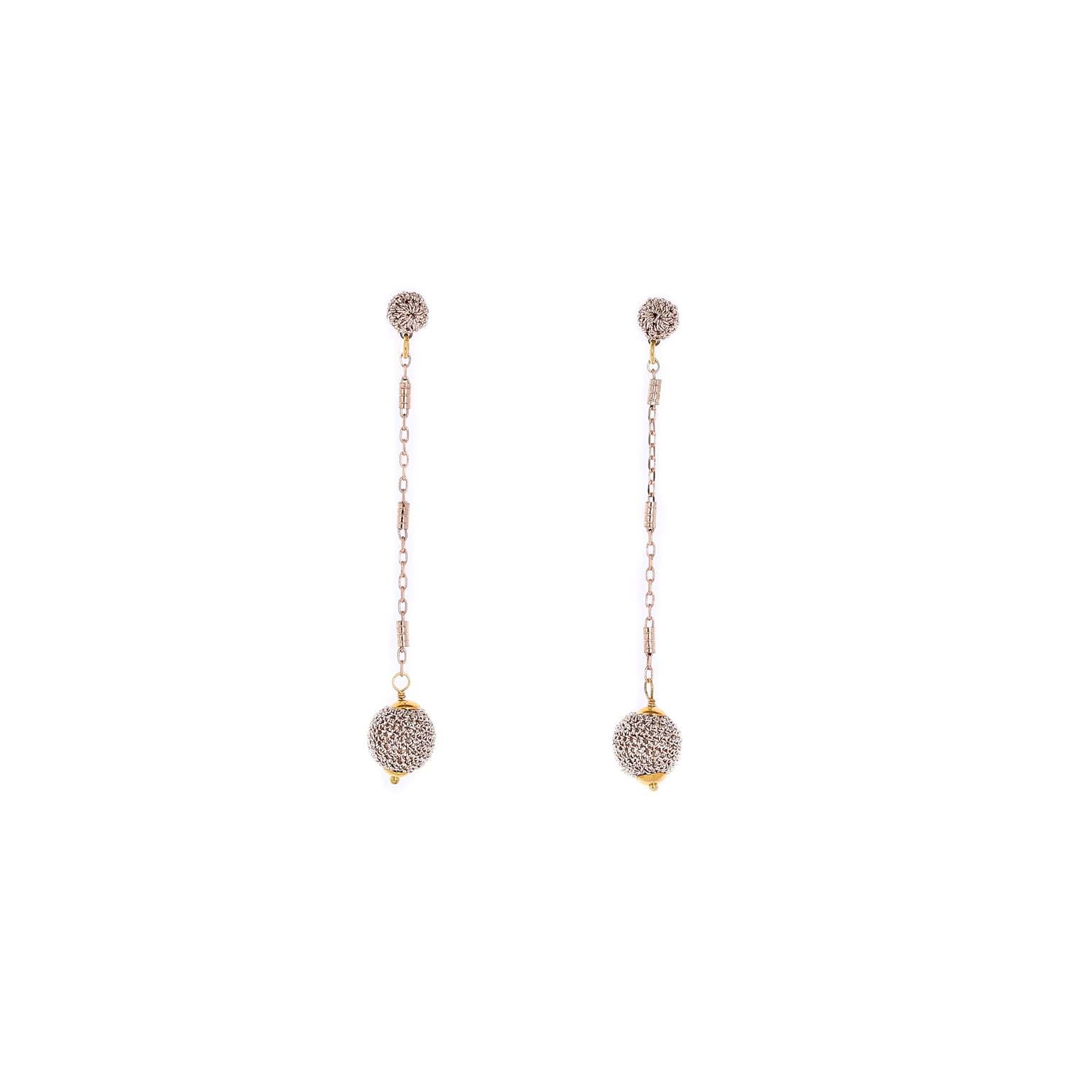 Nomad Stud Crochet Long Earring With Crochet Drop - Peach Colour