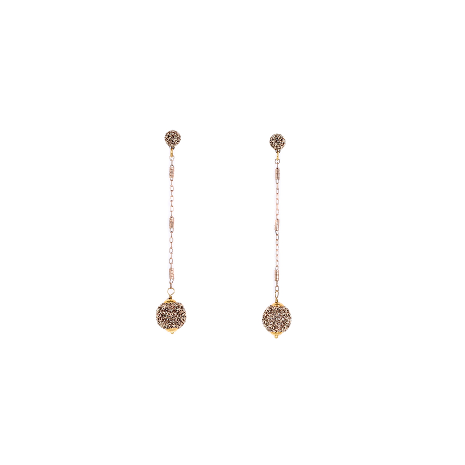 Nomad Stud Crochet Long Earring With Crochet Drop - Gold Colour