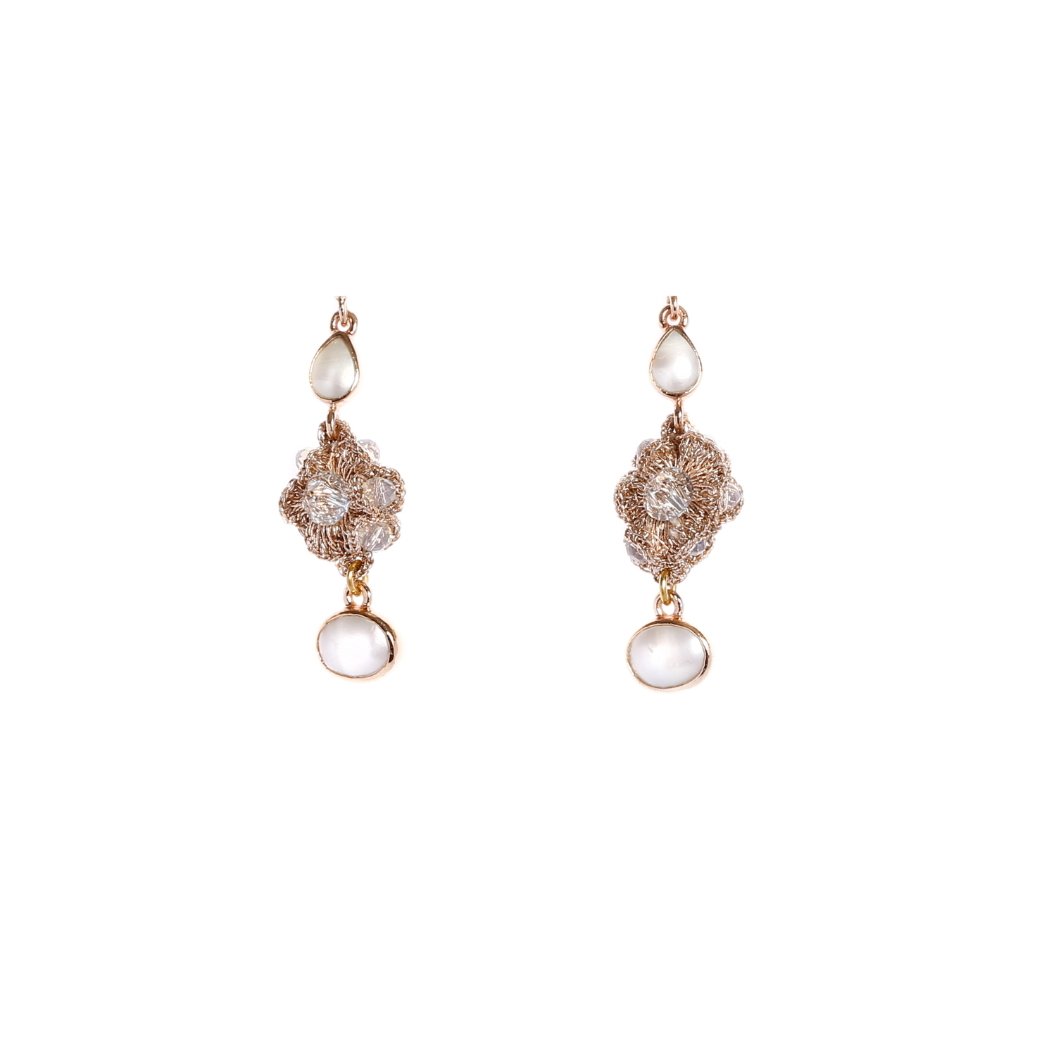 Nomad Pearl Dew Drops And Crystal Cluster Drop Earring