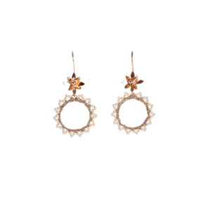 Nomad Rose Gold Flower Hoop Earrings With Pearl Edging