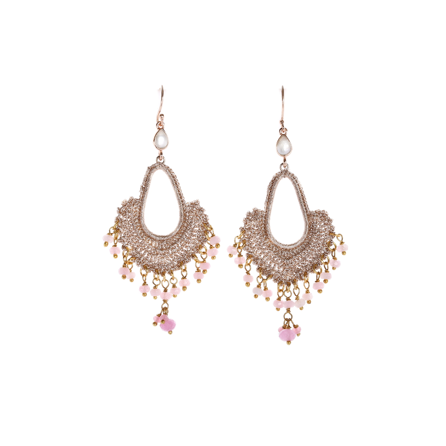 Nomad Rose Gold With Blush Quartz Tassel A Style Drop Earring