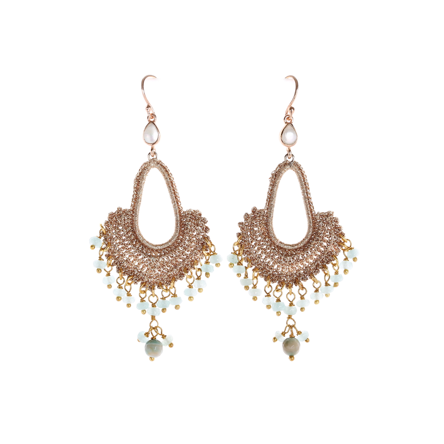 Nomad Rose Gold With Jade Quartz Tassel A Style Drop Earring