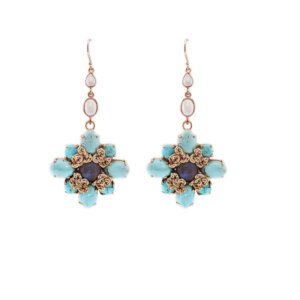 Nomad Howlite, Pearl And Labradorite Turquoise Flower Drop Earring