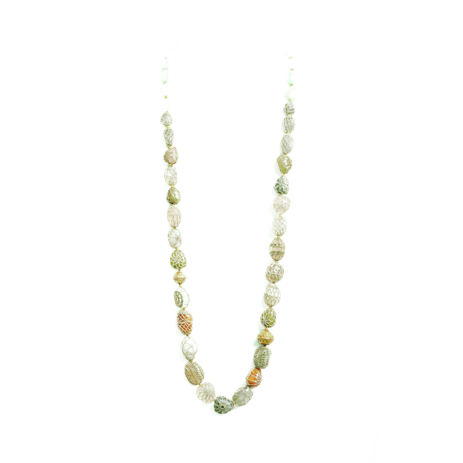 Nomad String of Precious Stones Long Quartz Necklace - Beige