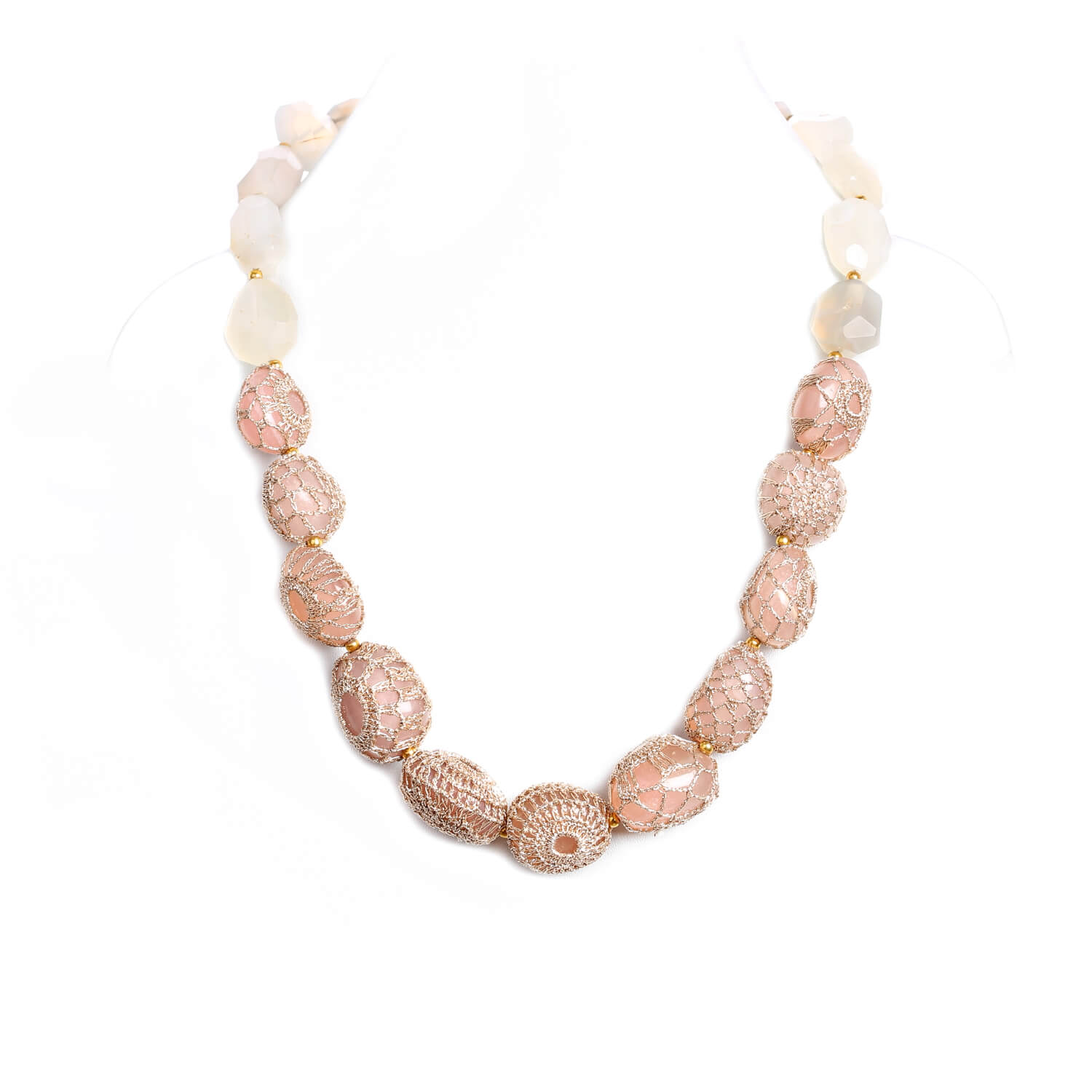 Nomad String of Precious Stones Quartz Necklace - Blush