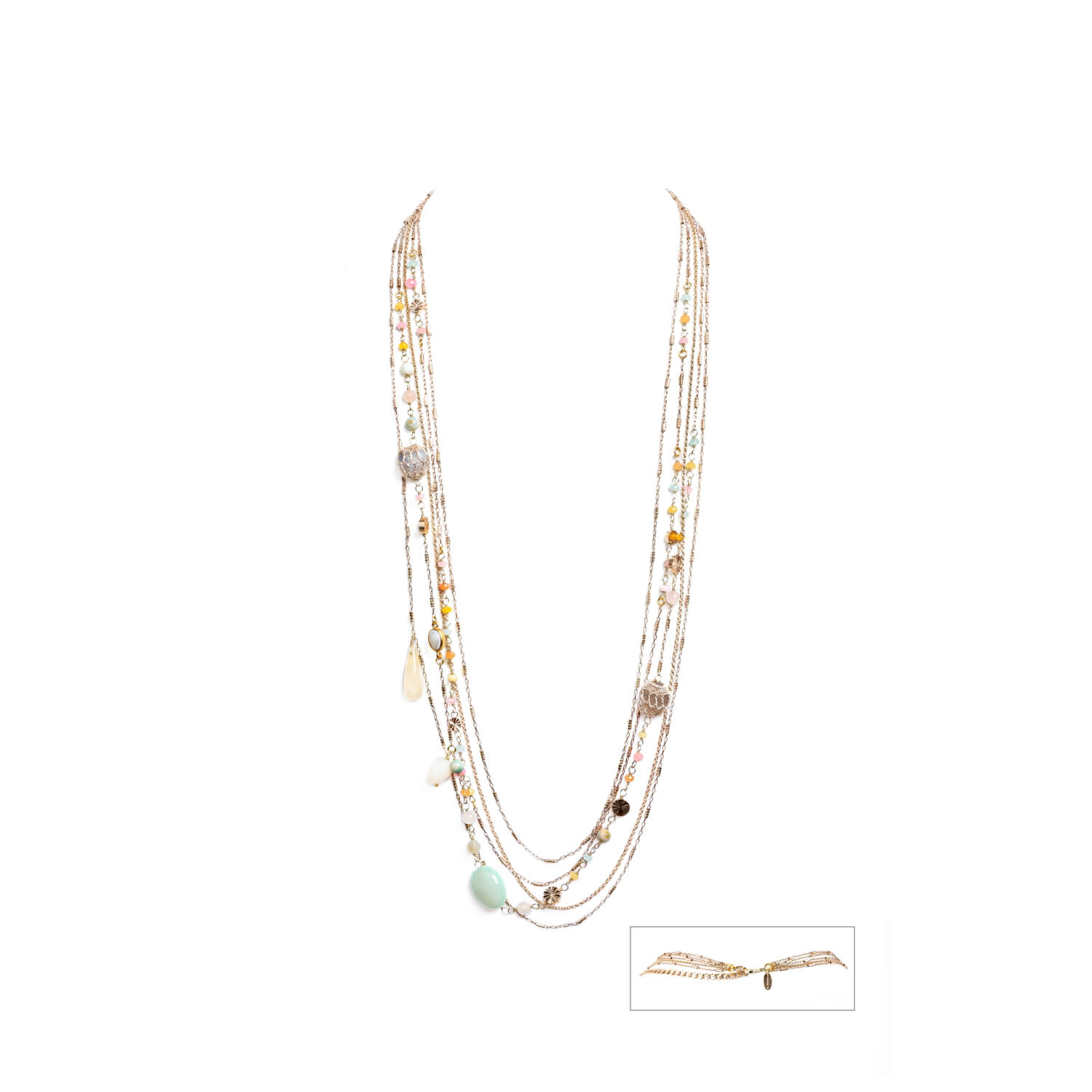 Nomad Multi-chain Beaded Layered Necklace - Pearl Rose Jade