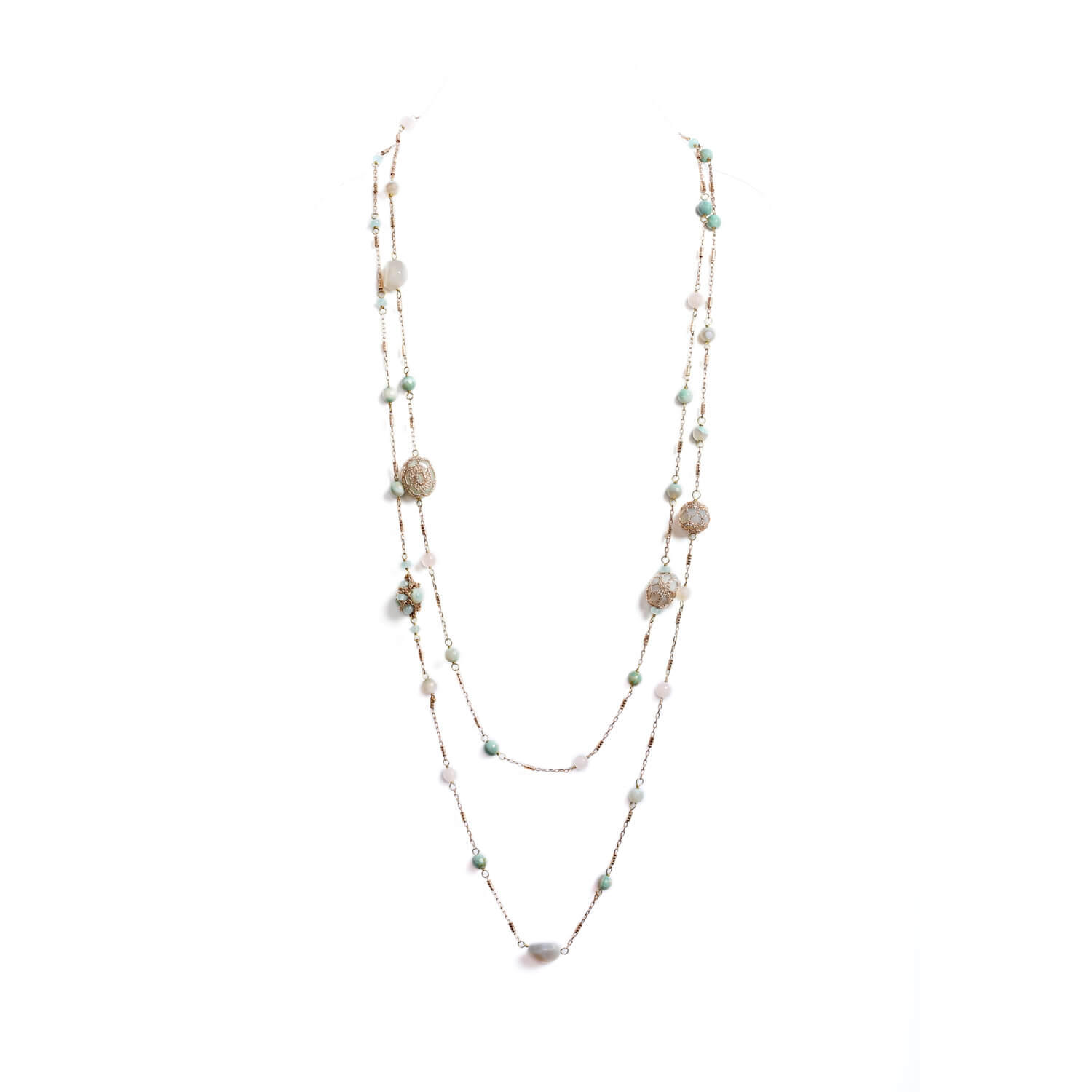 Nomad Double Wrap Long Beaded Chain Necklace - Jade Agate