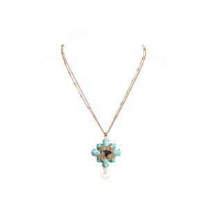 Nomad Howlite Flower Pendant Necklace