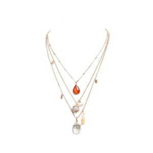 Nomad Multi Chain Short Charm Necklace - Carnelian Red and Crystal