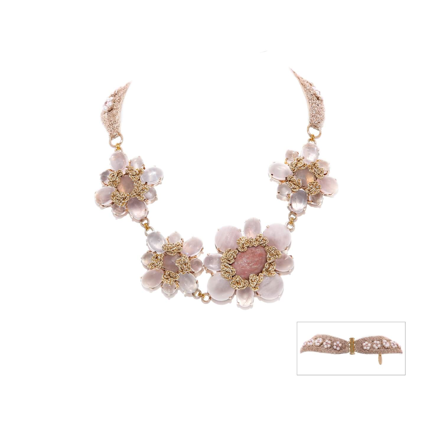 Nomad Floral Sash Choker Crochet Necklace - Rose Quartz