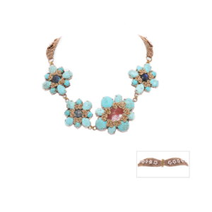 Nomad Floral Sash Choker Crochet Necklace - Howlite and Labradorite