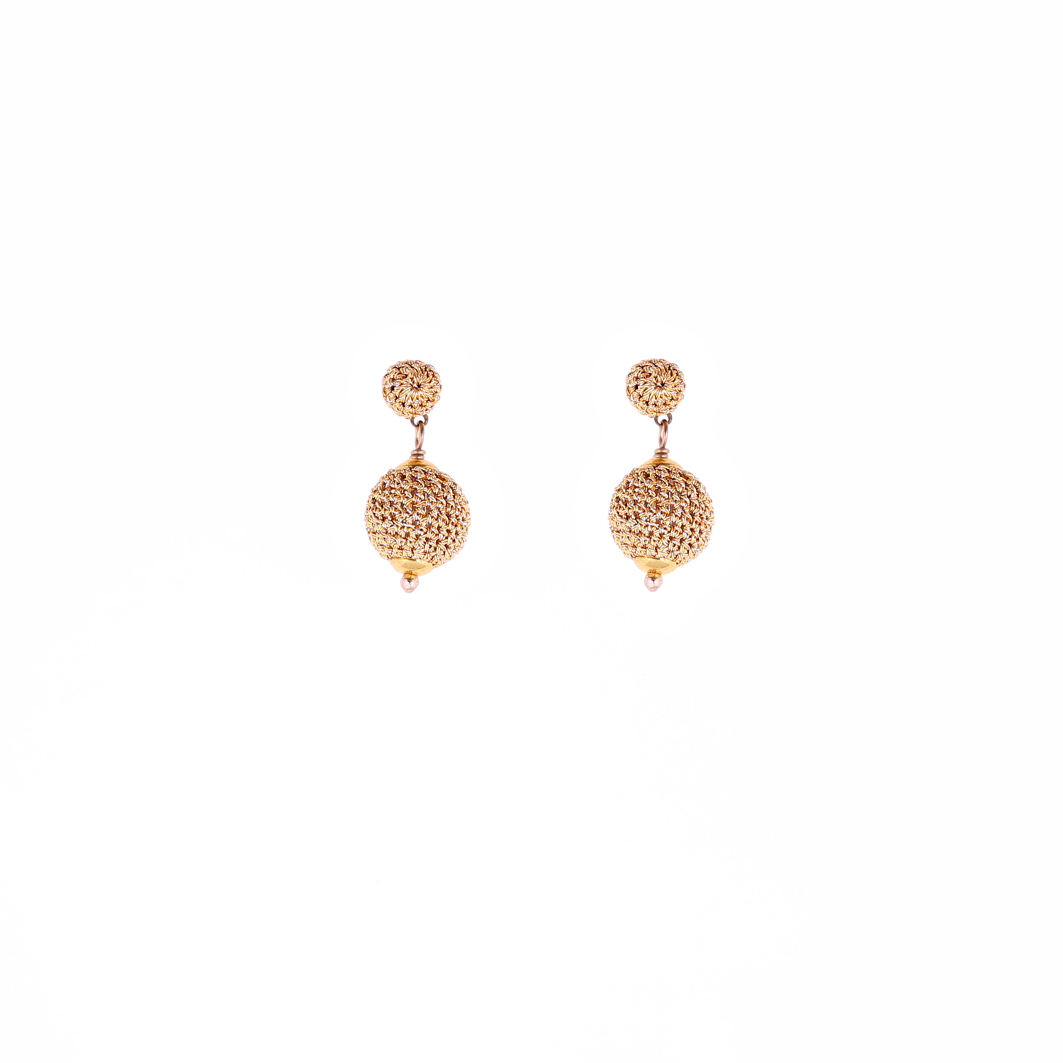 Queen of Sheba Stud Crochet Short Drop Earring - Papaya Colour