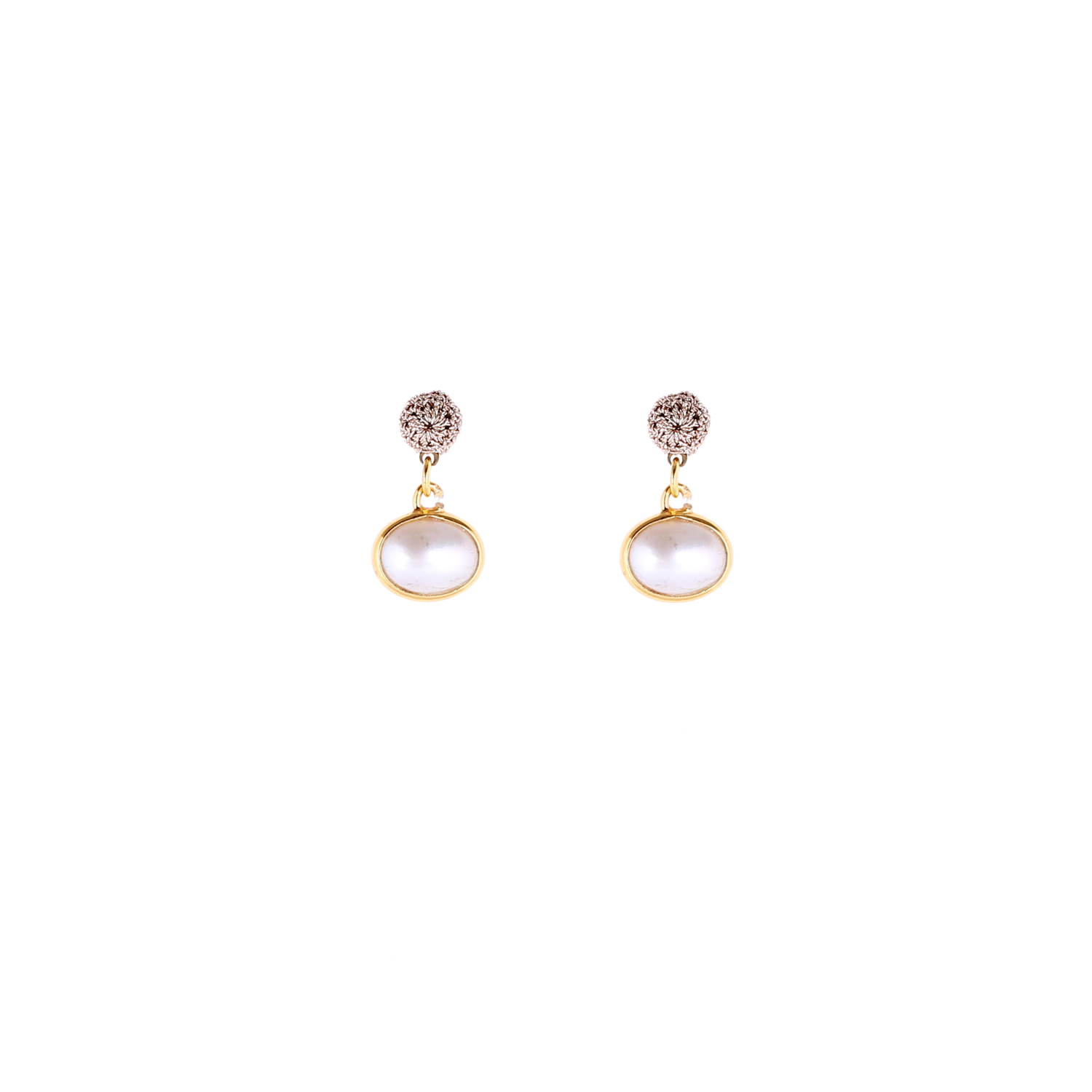 Queen of Sheba Stud Pearl Short Drop Earring
