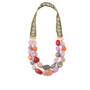 Queen of Sheba Double String of Precious Stones Necklace - Moss