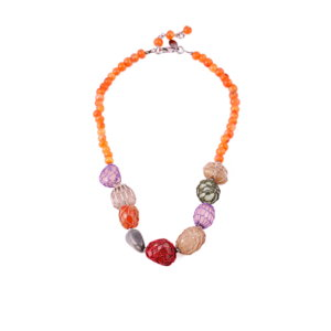 Queen of Sheba String of Precious Stones Necklace - Tangerine