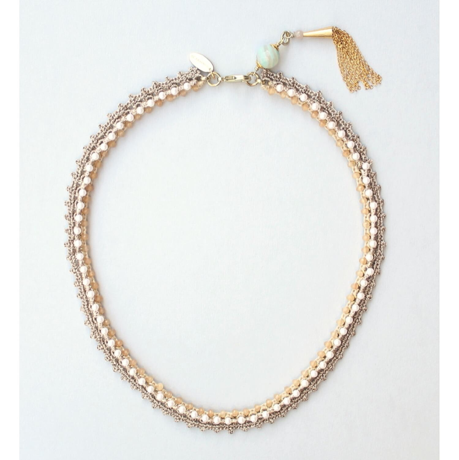 Aphrodite Beaded Crochet Choker Necklace - Ivory Sun Stone
