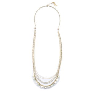 Aphrodite Multi Chain Long Drop Necklace - Sun Stone