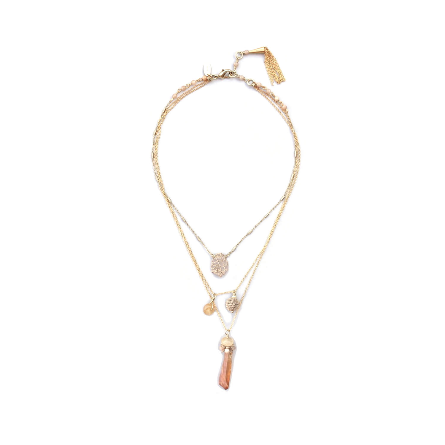 Aphrodite Multi-chain Short Charm Necklace - Rose Quartz