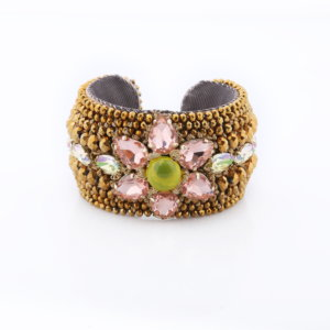 Venus Crystal Floral Cuff - Blush Gold Lemon