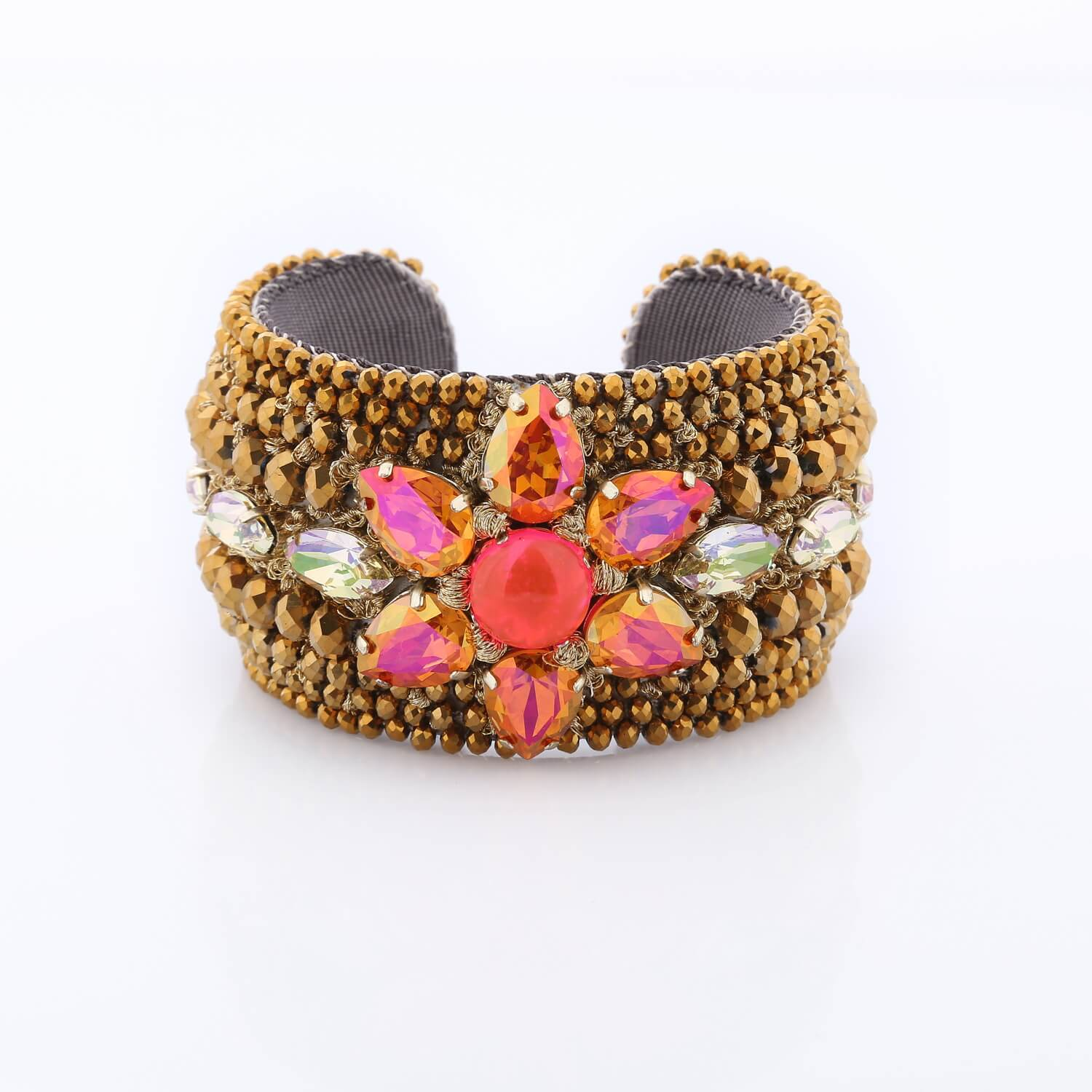 Venus Crystal Floral Cuff - Rouge Gold Tangerine