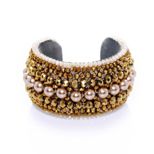 Venus Beaded Crystal Cuff - Gold Blush Pearl
