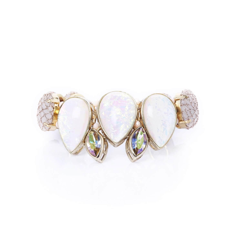 Venus Rose Teardrop Petal Bracelet - Opal White 2